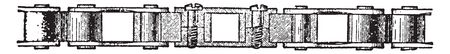 Bicycle Chain consists of a series of central blocks connected by side plates, vintage line drawing or engraving illustration.