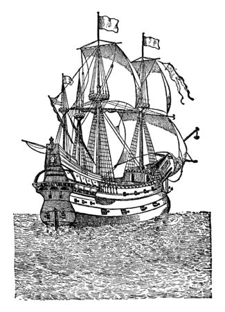 Spanish Ship was 80 gun ship of the line of the Spanish Navy launched in 1749, vintage line drawing or engraving illustration.