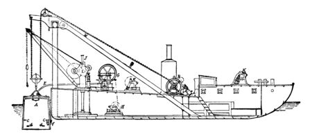 Barge with Diving Bell which is raised and lowered by means of the Chain and Steam Winch, vintage line drawing or engraving illustration.