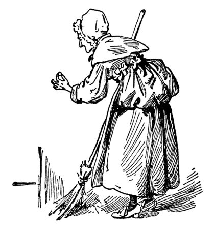 An old woman sweeping the floor, vintage line drawing or engraving illustration
