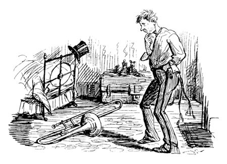 A man looking at Trombone on ground, vintage line drawing or engraving illustration Ilustração
