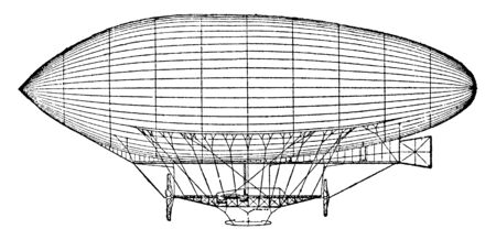 Dirigible Balloon successfully equipped with a powerful oil engine, vintage line drawing or engraving illustration.