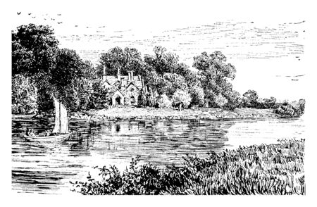 Magna Charta Island is an island in the River Thames in England, vintage line drawing or engraving illustration.