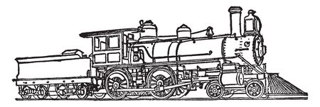 American Locomotive was the first railway constructed to be worked by locomotives was the South Carolina railroad, vintage line drawing or engraving illustration.