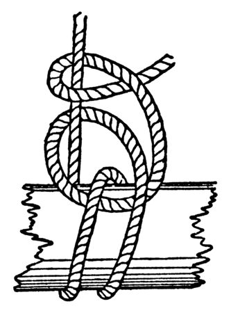 Fisherman Bend is a half hitch round the standing part and between the spar and the turns, vintage line drawing or engraving illustration.