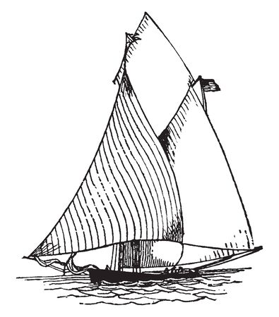 Balloon Jib is a triangular sail made of light canvas used only by yachts and in light winds, vintage line drawing or engraving illustration.