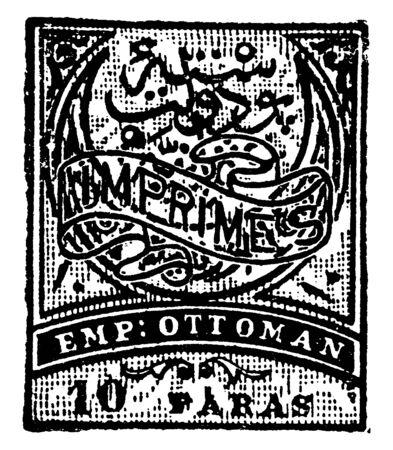 Deze afbeelding vertegenwoordigt Turkije 10 Paras drukwerk stempel in 1879, vintage lijntekening of gravure illustratie.
