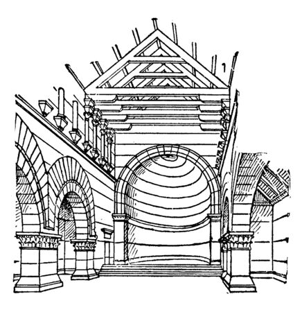 Church at Kalb Louzeh which is Christian architecture is Syria diverged from Roman traditions, vintage line drawing or engraving illustration. Stock Illustratie