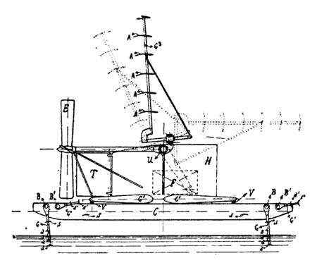 Hydro Aeroplane which can also take off and land on airfields are a small subclass called Amphibian aircraft, vintage line drawing or engraving illustration.
