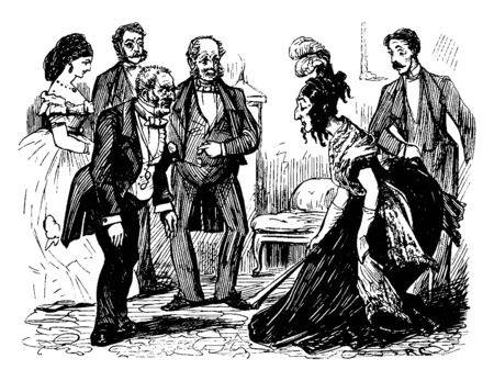 A man and woman being introduced to each other, other men and women around them, vintage line drawing or engraving illustration