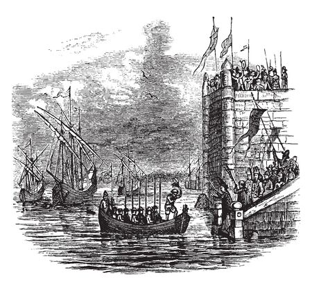 Columbus Fleet sailing from Palos, vintage line drawing or engraving illustration.