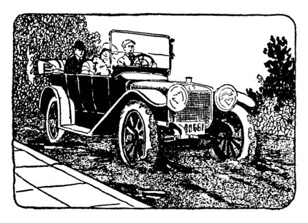 This illustration represents Car on Muddy Street, vintage line drawing or engraving illustration.