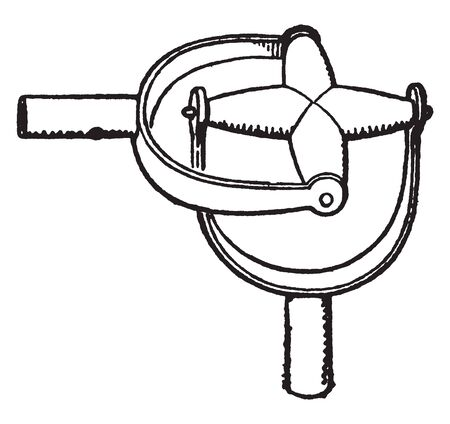 Joint of Gimbals which is again suspended in the diametral axis of another ring, vintage line drawing or engraving illustration. Çizim