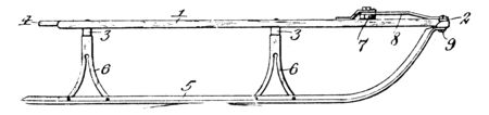 Side View of a Sled is a sliding vehicle designed to transport passengers or cargo by using a running mechanism, vintage line drawing or engraving illustration.