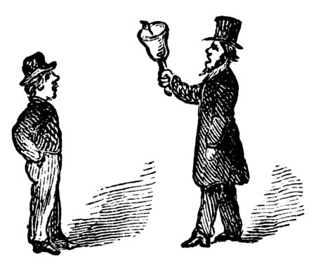 A man ringing bell and another man standing next to him, vintage line drawing or engraving illustration