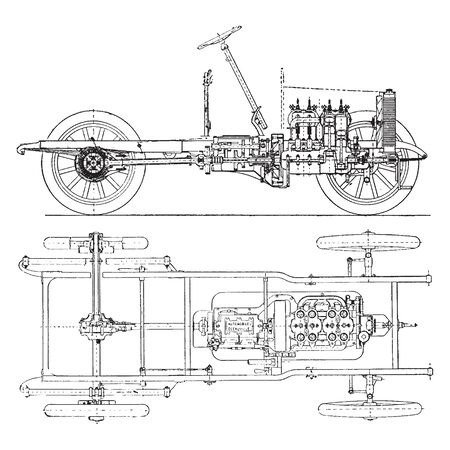 Propeller Shaft Drive is a sectional view of an early model car showing a propeller shaft drive through bevel gears to the rear axle, vintage line drawing or engraving illustration. 向量圖像