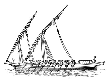 Felucca is a sailing vessel used to protect the Red Sea and the eastern part of the Mediterranean Sea, vintage line drawing or engraving illustration. Иллюстрация