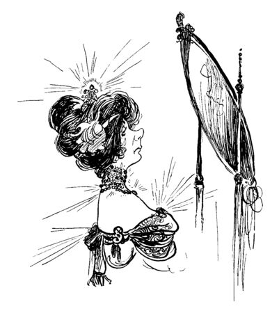 A woman looking into a mirror, vintage line drawing or engraving illustration Ilustração