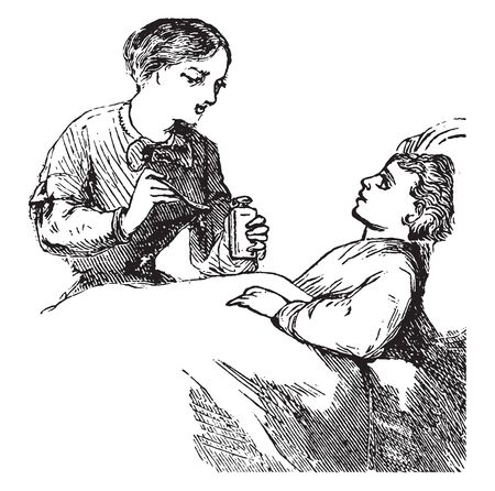 A woman feeding medicine to boy in bed, vintage line drawing or engraving illustration 向量圖像