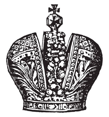 Russian Crown is a royal crown, vintage line drawing or engraving illustration.
