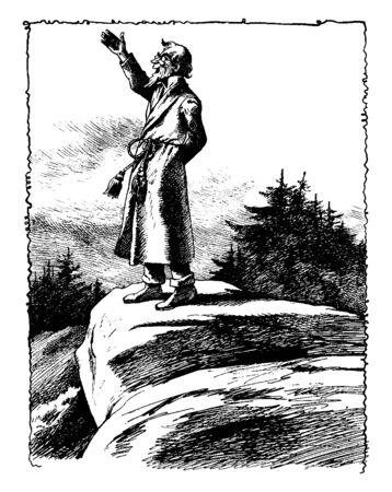 A man standing on rock and raising right hand, vintage line drawing or engraving illustration Çizim