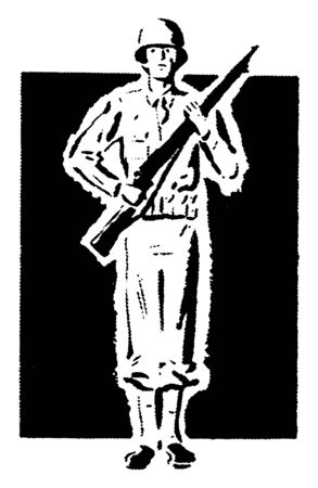 A man in a military uniform with a rifle, vintage line drawing or engraving illustration