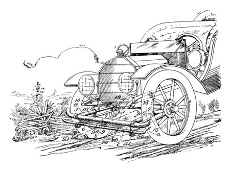 Vehicle Fender is shaped and positioned so as to block the splashing of water or mud, vintage line drawing or engraving illustration.