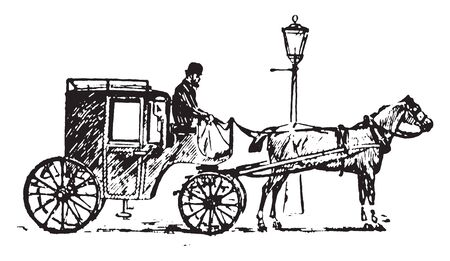 Cab is a type of vehicle for hire with a driver used by a single passenger or small group of passengers, vintage line drawing or engraving illustration.