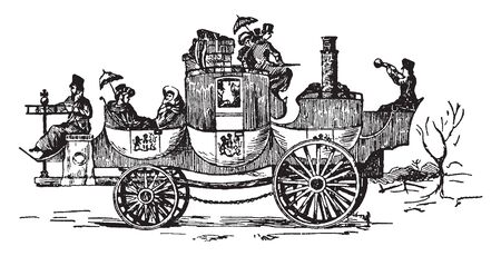 Notable Coach invented around 1829 by a man named James and was the first practical steam carriage build, vintage line drawing or engraving illustration.