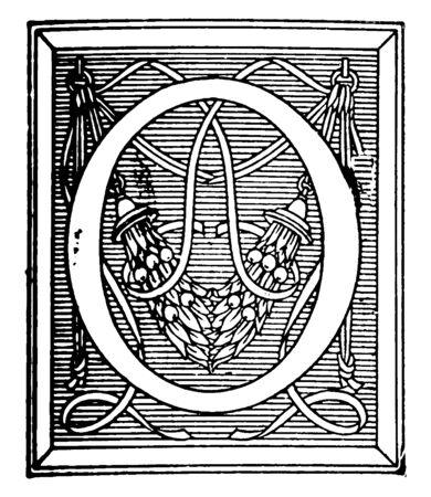 A decorative capital letter O, vintage line drawing or engraving illustration