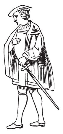 This image represents Male Costume from the Time of Henry VIII, vintage line drawing or engraving illustration. Ilustrace