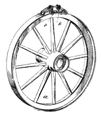 Adjustable Tire is ring shaped the earliest tires were bands of iron placed on wooden wheels which were used on carts and wagons, vintage line drawing or engraving illustration.  イラスト・ベクター素材