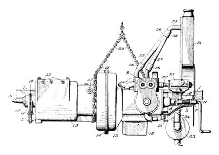Motor Vehicle Engine is an internal combustion engine in which high temperature and pressure gases produce a combustion, vintage line drawing or engraving illustration. Ilustração