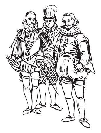 This illustration represents Male Costumes from the Time of Elizabeth I, vintage line drawing or engraving illustration. Reklamní fotografie - 133253014