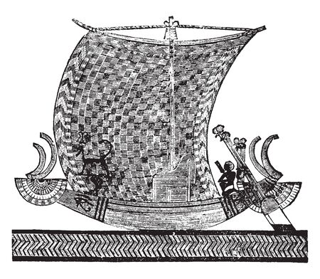 Egyptian Royal Boat from a sculptured tomb, vintage line drawing or engraving illustration.