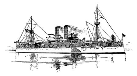 United States Battleship Maine is an American naval ship that sank in Havana Harbor during the Cuban revolt against Spain, vintage line drawing or engraving illustration. Ilustração