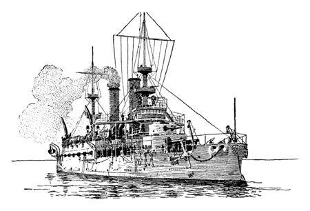 Ons slagschip Kearsarge was het eerste schip van de Amerikaanse marine dat werd genoemd door de wet van het Congres, vintage lijntekening of gravure illustratie. Vector Illustratie