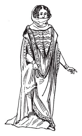 This illustration represents Female Costume from the Time of Edward I, vintage line drawing or engraving illustration.