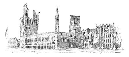 Guild Hall in Ypres was the chief edifice of the sort in Belgium and one of the finest examples of secular Gothic architecture in Europe, vintage line drawing or engraving illustration.