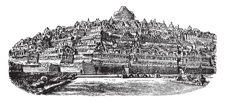 Bara Budur is a 9th century Mahayana Buddhist temple in Magelang of Central Java, vintage line drawing or engraving illustration.