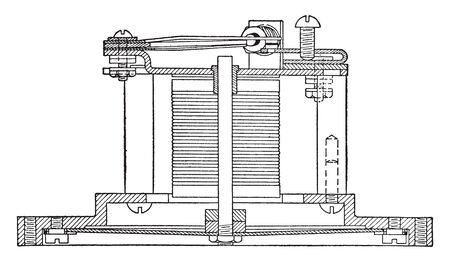 Electric Horn driven by a flat circular steel diaphragm that has an electromagnet acting on it, vintage line drawing or engraving illustration.