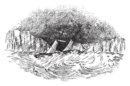 This image represents Ice Barrier by Captain Wilkes, vintage line drawing or engraving illustration.