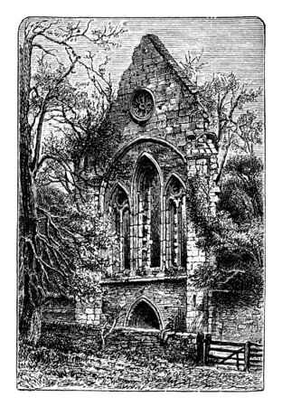Valle Crucis which would already have stood for nearly four centuries when the abbey was established in 1201, vintage line drawing or engraving illustration.