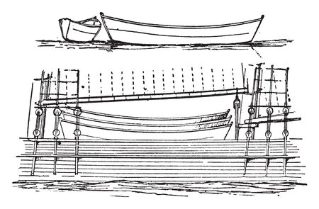 Dory is a small flat bottomed boat used in sea fisheries in which to go out from a larger vessel to catch fish, vintage line drawing or engraving illustration.