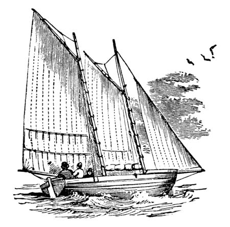 Reef Sails is a certain portion of a sail between the top or bottom and a row of eyelet holes running across the sail, vintage line drawing or engraving illustration.