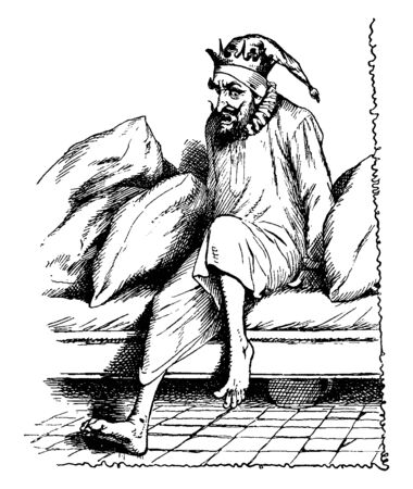A man getting out of bed, vintage line drawing or engraving illustration Illusztráció