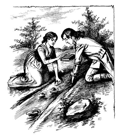 A man and woman leaning over stream and holding book, vintage line drawing or engraving illustration