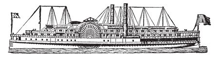 American River Steamboat is a boat or vessel propelled by steam acting either on paddles or on a screw, vintage line drawing or engraving illustration.