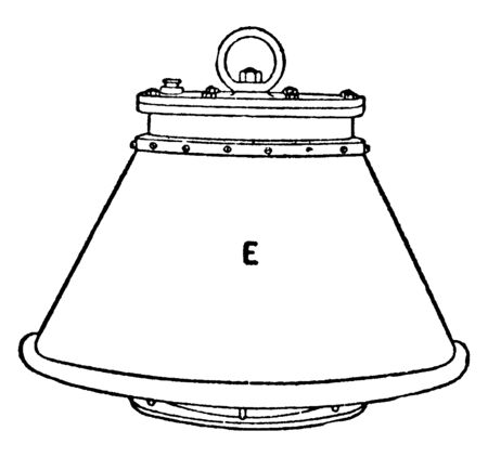 Submarine Electric Lamp which is a metal case containing electrical fittings, vintage line drawing or engraving illustration.