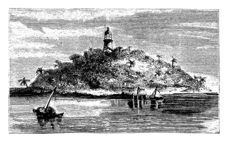 Seahorse Key lighthouse which is located in Cedar Keys and a cluster of islands close to the mainland of Florida, vintage line drawing or engraving illustration. Çizim